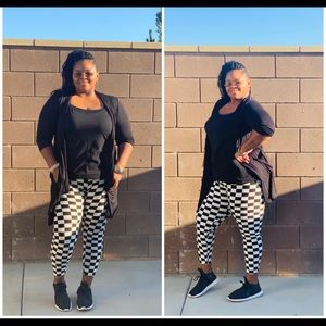 Pants - New Plus Size Striped Checkered And Legging Set